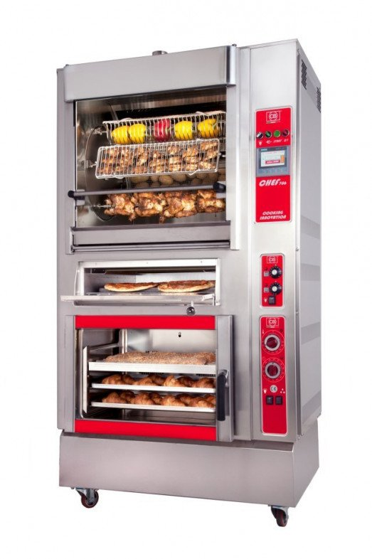 CB Chef Cooking Block  Chef505+FCE - Infrared rotisserie  & 5 tray convection oven