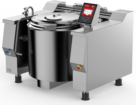 Firex Basket PRIE..V1 - 105, 130, 180, 242, 301 or 467 Ltrs Electric Indirect heat tilting kettles with Touchscreen programmable controls