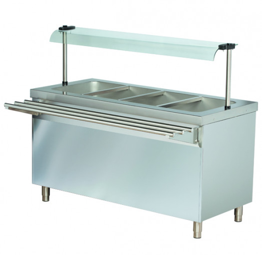 Chefsrange BM4HC - 4 x 1/1gn Heated Bain Marie with Hotcupboard + Sneeze Guard & Tray slide