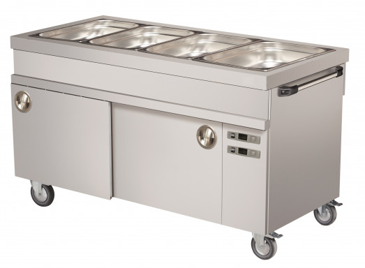 Chefsrange MBM4HC - 4 x 1/1gn Mobile Heated Bain Marie with Hotcupboard + Handle